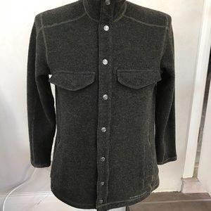 ExOfficio men's M, wool/poly/nylon snap up sweater